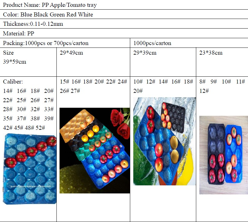 Tray Liner Size Chart